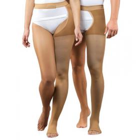 Viena tamprioji medicininė kompresinė kojinė, nedengianti pirštų, tvirtinama ant juosmens, universali, karamelės spalvos, ELAST 0403-01 LUX