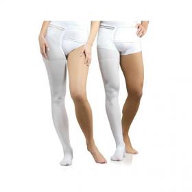 Viena medicininė tamprioji kompresinė kojinė, dengianti pirštus, tvirtinama ant juosmens, universali, antiembolinė, I kompresijos klasė (18-21 mm Hg), spalva balta, ELAST 0403-01 Hospital
