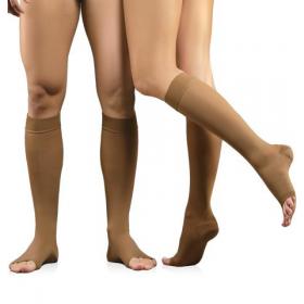 Medicininės tampriosios kompresinės kojinės iki kelių, nedengiančios pirštų, universalios, I kompresijos klasė (18-21 mm Hg), ūgis 1 (158-170),  ELAST 0408